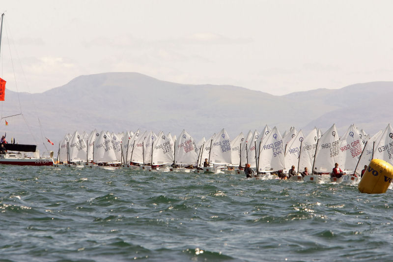 The start line during the Volvo Musto Optimist Nationals at Pwllheli