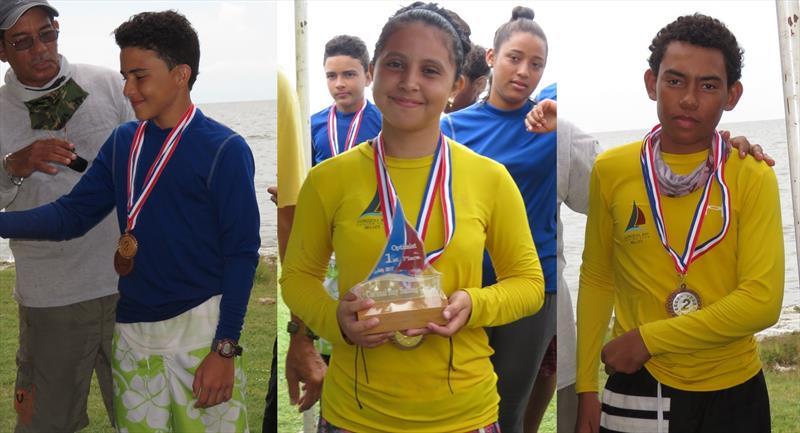 Corozal Bay Regatta Optimist Winners (l-r) Peter Joo; Ayaneria Teck; Devaugn Morrison - photo © BzSA/Sharon Hardwick