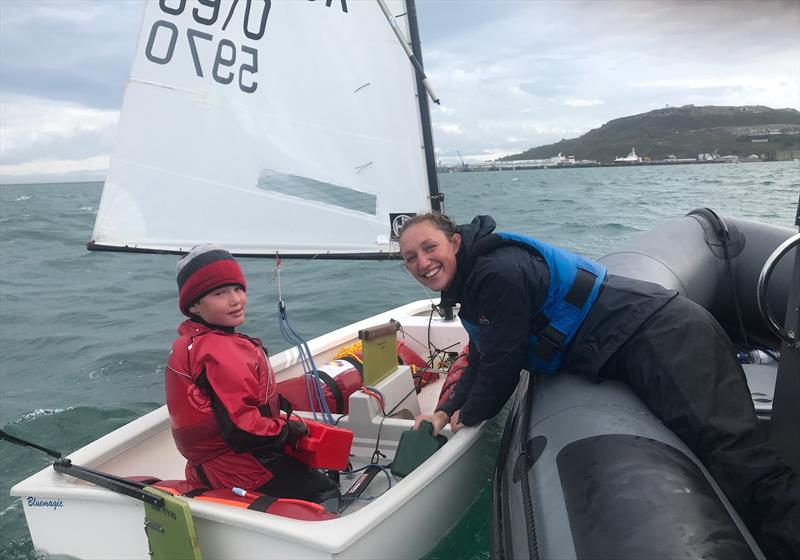 Getting some tips from British Sailing Team Nacra sailor Kirstie Urwin during the IOCA UK Volvo Gill Optimist End of Season Championship - photo © IOCA UK