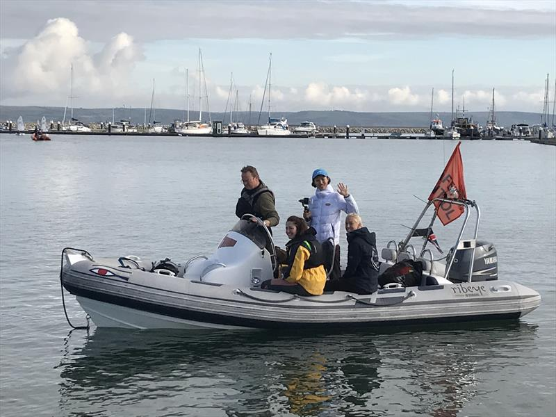 Lijia Xu and Anna Carpenter on the water ready to chat to sailors during the IOCA UK Volvo Gill Optimist End of Season Championship - photo © IOCA UK