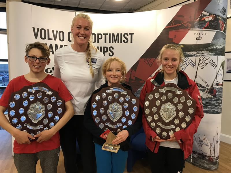 Prize winners Callum Davidson-Guild, Tasmyn Green and Emily Mueller with British Sailing Team 470 crew Anna Carpenter during the IOCA UK Volvo Gill Optimist End of Season Championship - photo © IOCA UK