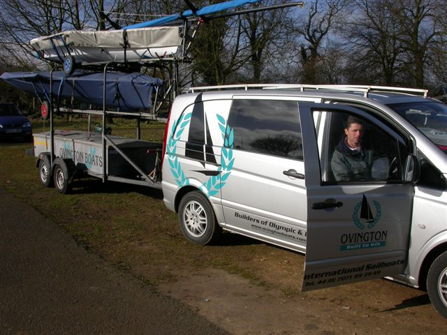 Dave Hall in the Ovington Boats van arrives at the Rutland 9er open - photo © Paul Manning