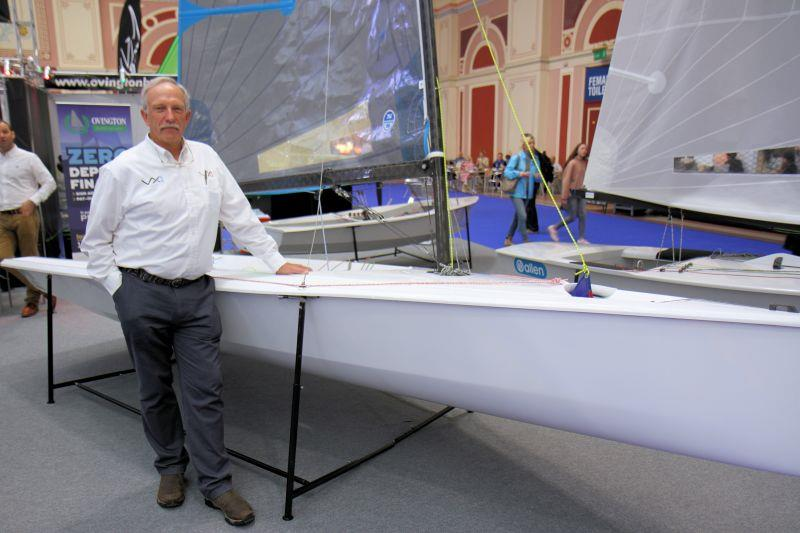Brian Bennett beside the VX Evo photo copyright Mark Jardine / YachtsandYachting.com taken at RYA Dinghy Show and featuring the  class