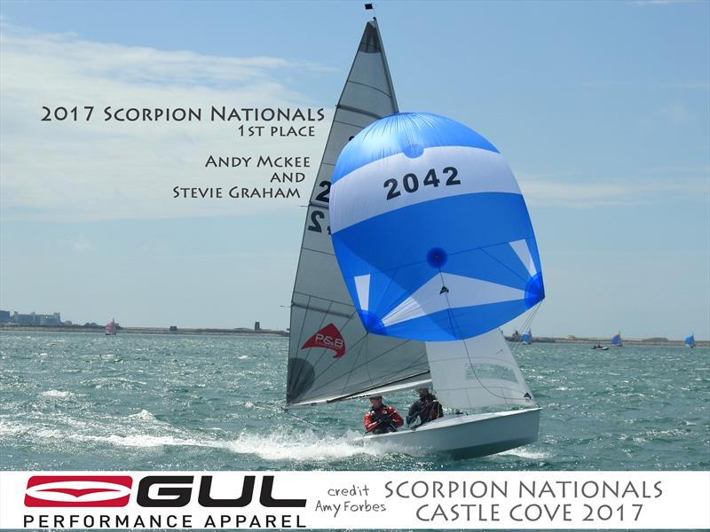 Andy Mckee and Stevie Graham win the 2017 Scorpion Nationals photo copyright Amy Forbes taken at Castle Cove Sailing Club and featuring the  class