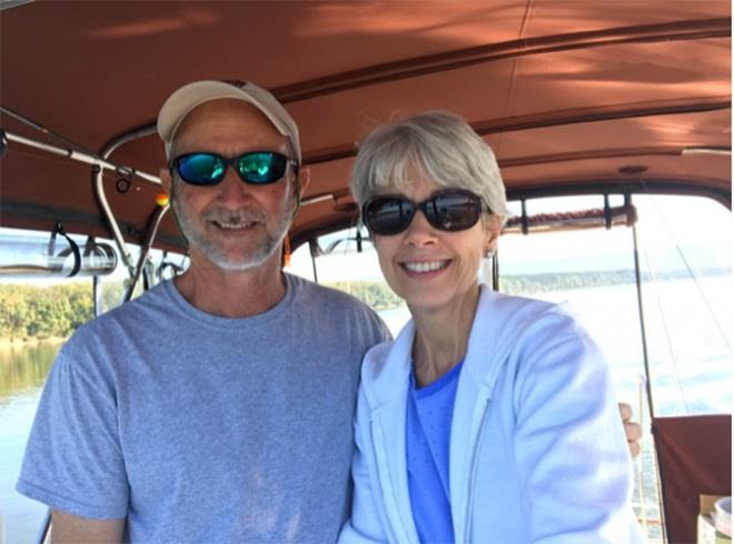 George and Meg Sanders on Viridian photo copyright Cruising Odyssey taken at  and featuring the Power boat class