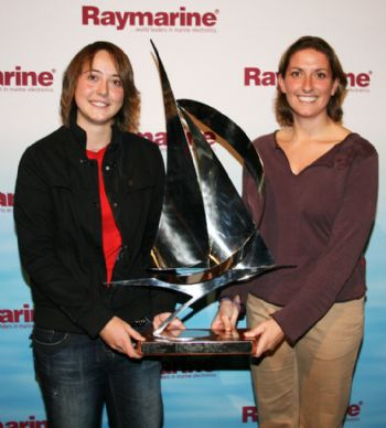 Katie Miller is presented with the prestigious title of Raymarine Young Sailor of the Year award by Dee Caffari