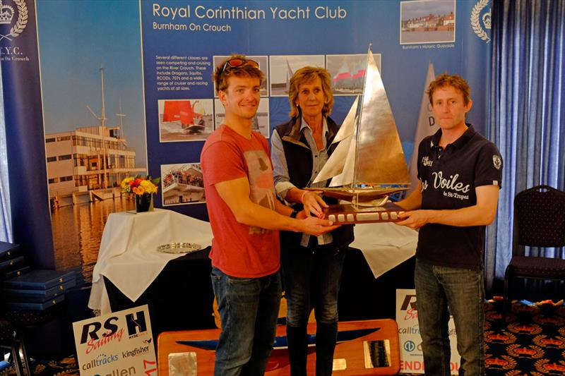 Annie Reid (RCYC Commodore) presents Ben Saxton (left) and Toby Lewis with the 2017 Endeavour Trophy photo copyright Roger Mant Photography taken at Royal Corinthian Yacht Club, Burnham and featuring the RS200 class