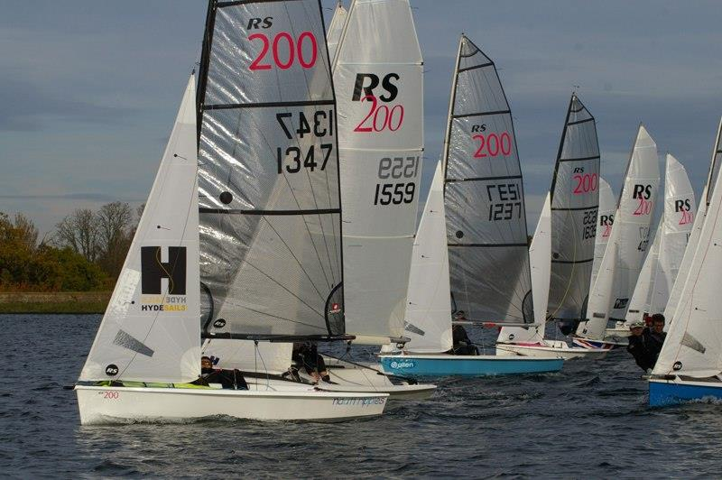 The eventual top three are prominent at the pin end of the line - RS200 SEAS End of Series Open Meeting at Island Barn photo copyright Jim Champ taken at Island Barn Reservoir Sailing Club and featuring the RS200 class