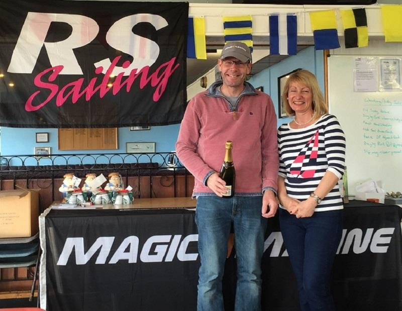 Champion Steve Bolland with the Commodore's wife Sue Howcroft at the Magic Marine RS300 Spring Championship at Stewartby Water - photo © Dan Treloar