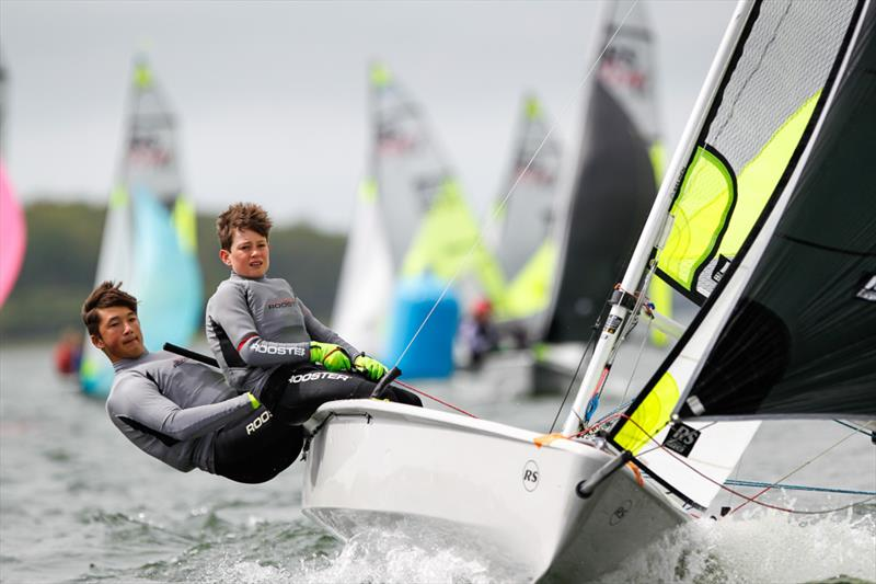 Louis Wright and Jamie Allen on day 2 of the RYA 29th Eric Twiname Championships photo copyright Paul Wyeth / RYA taken at Rutland Sailing Club and featuring the RS Feva class
