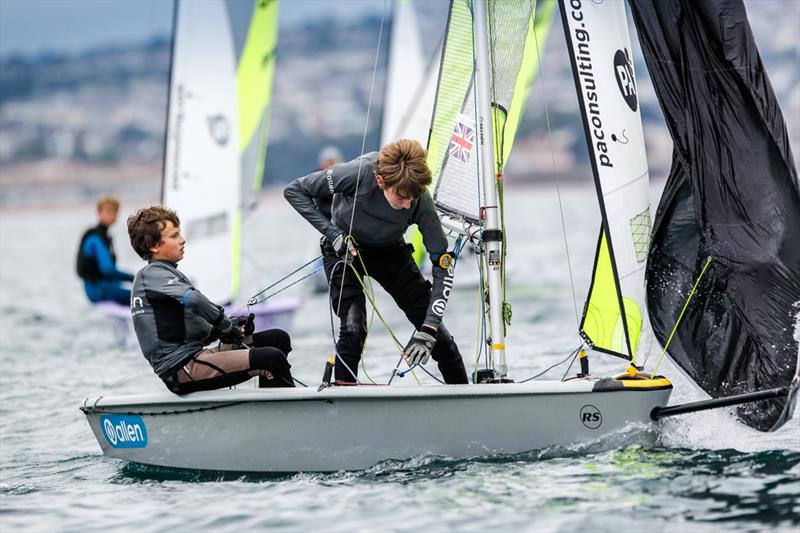 Quinn Edmonds and Fin Oliver win the RS Feva fleet in the South West during the RYA Zone and Home Country Championships - photo © Paul Wyeth / RYA