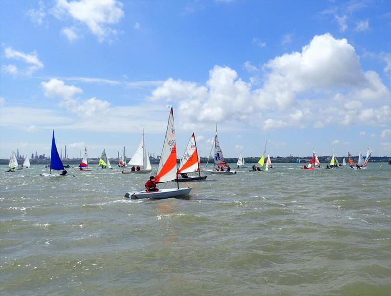 A bumper sized fleet made up of youth sailors from a number of clubs getting started before the wind really kicked in - photo © Paul Vickers