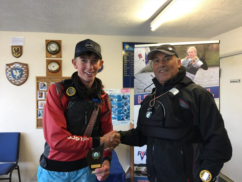 Race Officer, Chris Jones congratulates Andrew Frost on winning the Sutton Bingham RS Tera Open photo copyright Chris Jones taken at Sutton Bingham Sailing Club and featuring the RS Tera class