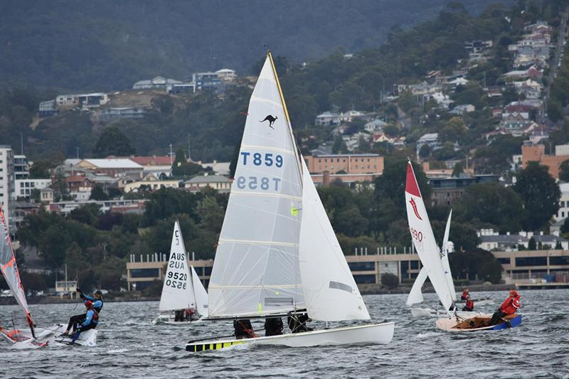 Iconic Sharpies added to the spectacle of high performance dinghy racing during the Crown Series Bellerive Regatta - photo © Jane Austin