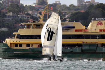 Thurlow Fisher Lawyers loses the lead in an incident with the Manly ferry in race 1 of the  64th JJ Giltinan Championship