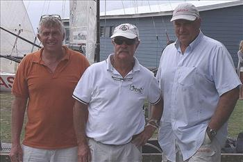 Giltinan legends Trevor Barnabas, John Winning, Iain Murray at the 18ft Skiff Ferry Patrons Trophy