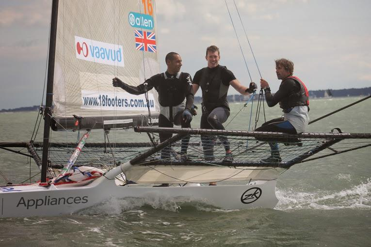 Simon Hiscox, Nick Murray & Pete Perera win the 18ft Skiff nationals at GJW Direct SailFest - photo © SailRacer