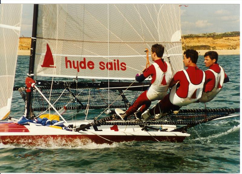 The Hyde 18 (Dave Hall, Paul Constable & Jerome Bakker) in the Solent in 1995 - photo © Rob Dulson