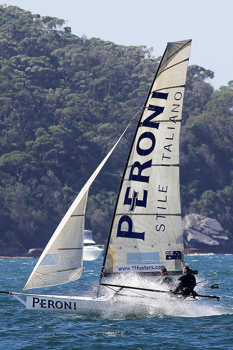 Peroni put in another consistent performance to be in the top 10 overall in the 18ft Skiff JJ Giltinan Championship photo copyright Frank Quealey taken at Australian 18 Footers League and featuring the 18ft Skiff class