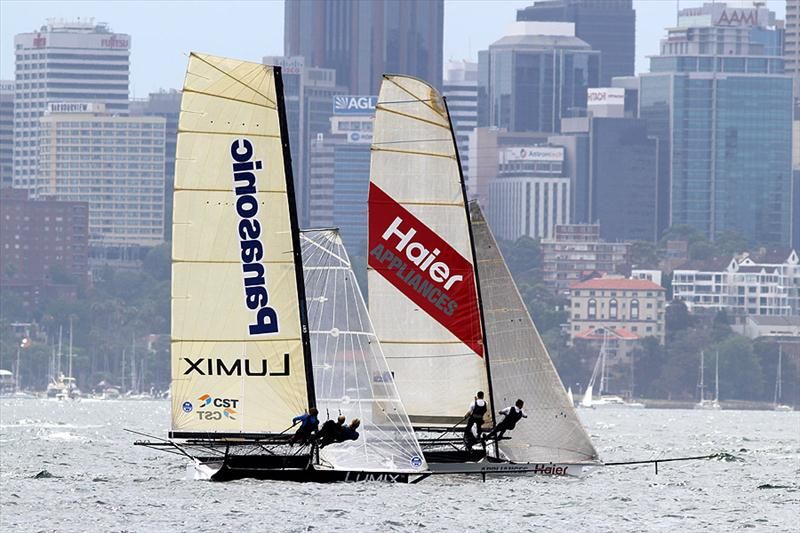 Lumix sports a radical new wing mast during race 2 of the NSW 18ft Skiff Championship