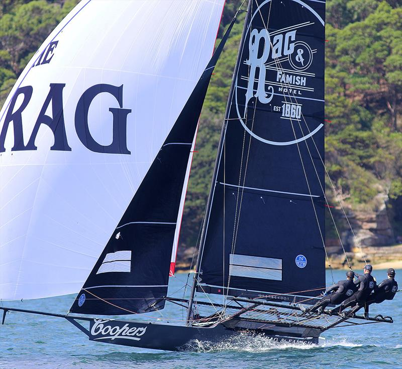 Rag and Famish Hotel, near the lead in Race 3 - 18ft Skiffs: Australian Championship 2018 - photo © Frank Quealey
