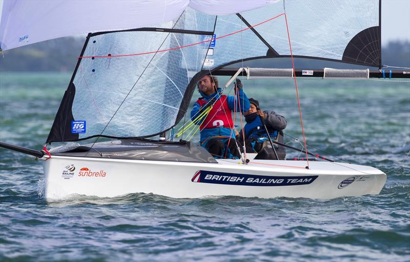 Alexandra Rickham & Niki Birrell on day 5 at ISAF Sailing World Cup Miami photo copyright Ocean Images / British Sailing Team taken at Coconut Grove Sailing Club and featuring the SKUD 18 class