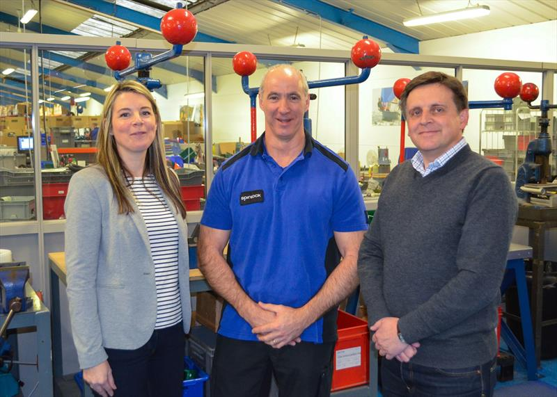 (l-r) Spinlock's Operations Director Caroline Senior, Andy Ormiston and CEO Chris Hill - photo © Spinlock