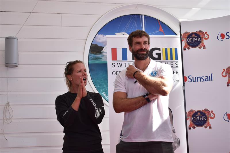 Hannah Mills and Iain Percy during the Sunsail Daily Prize Giving at Lendy Cowes Week 2017 - photo © Sunsail