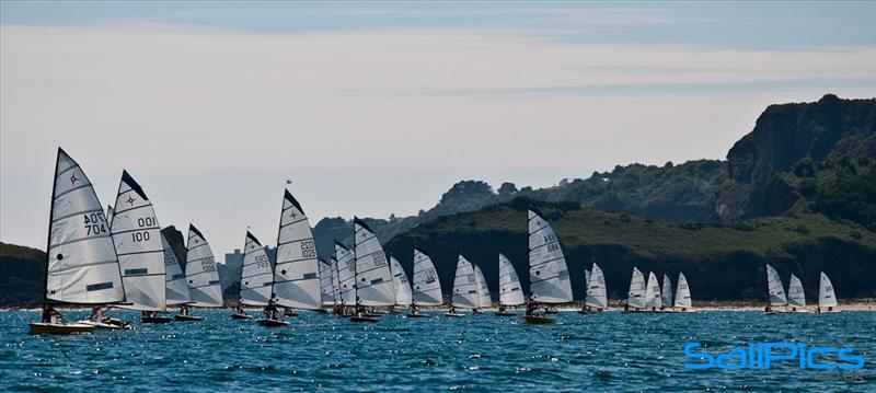 Ian Morgan leads the fleet down wind at the Supernova National Championships