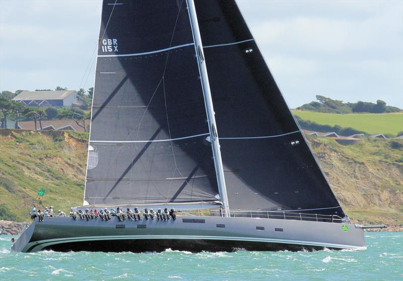 The gigantic Baltic 115 Nikata after the Rolex Fastnet Race start - photo © Mark Jardine / YachtsandYachting.com