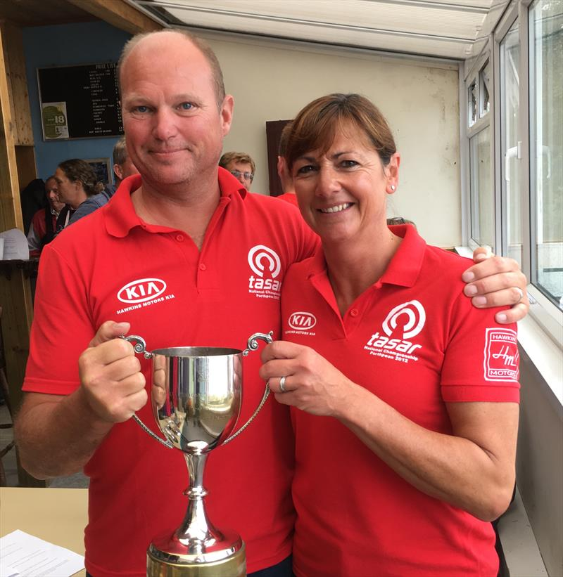 Our new Champions Jeremy and Suzanne Hawkins during the Tasar Nationals at Porthpean - photo © Sarah Desjonqueres