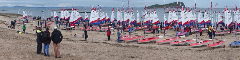 The Gold and Silver Fleets prepare to sail from the beach during the Topper Nationals at East Lothian - photo © Derek Braid