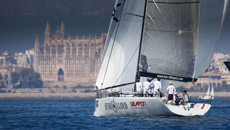 Henri Lloyd Weapon of Choice practicing before the TP52 Worlds in Palma