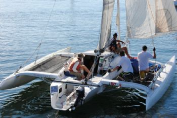 Trimaran Rocket Alice outsailed the keelboats in the Betsey Island race