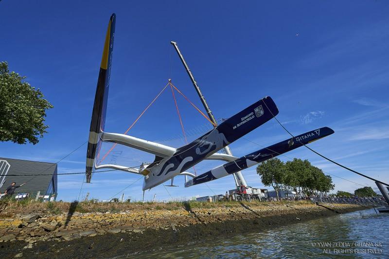 The Maxi Edmond de Rothschild is launched - photo © Yvan Zedda / GITANA SA