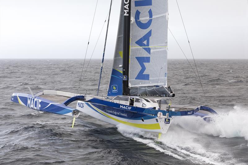 François Gabart on Macif sets off on his single-handed round the world record attempt photo copyright Jean-Marie Liot / ALeA / Macif taken at  and featuring the Trimaran class