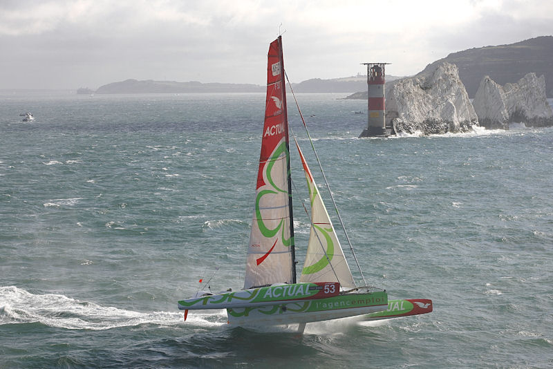 Actual, the French Multi 50 Trimaran, bears off for maximum speed around the Needles, eventually taking line honours in today's J.P. Morgan Asset Management Round the Island Race
