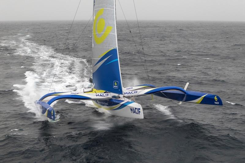 Aerial images of Francois Gabart onboard Ultim MACIF, training before the Round the Word Solo Handed Record, off Belle Ile, on October 16th photo copyright Jean-Marie Liot / ALeA / Macif taken at  and featuring the Trimaran class