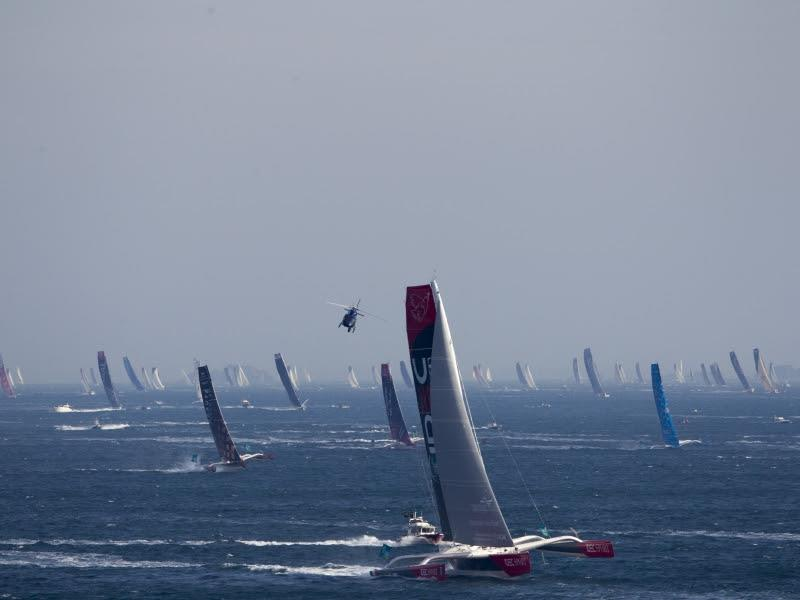 Spectacular scenes off Saint Malo as the Route du Rhum-Destination Guadeloupe gets underway in perfect conditions - photo © Alexis Courcoux