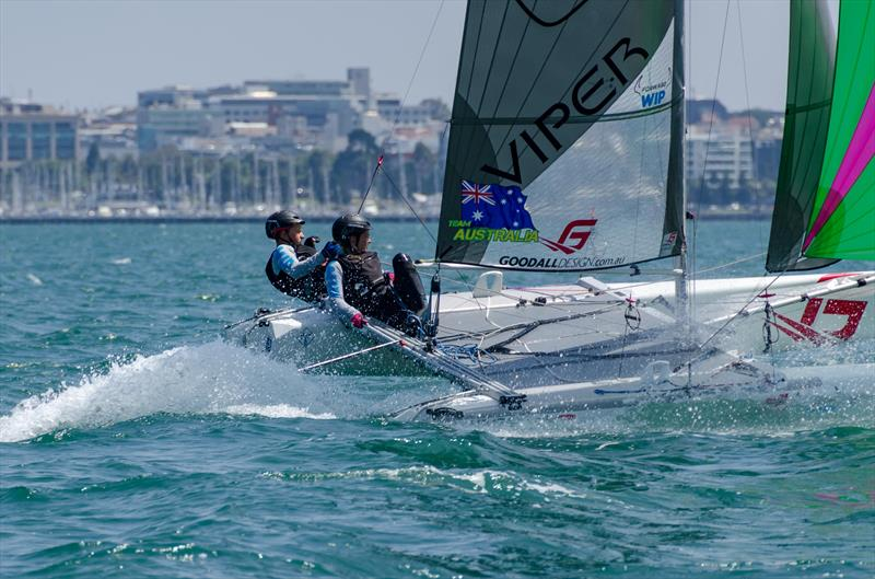 Tayla Rietman and Lachlan White off Geeong on day 2 of the Viper Worlds at Geelong - photo © Tiff Rietman