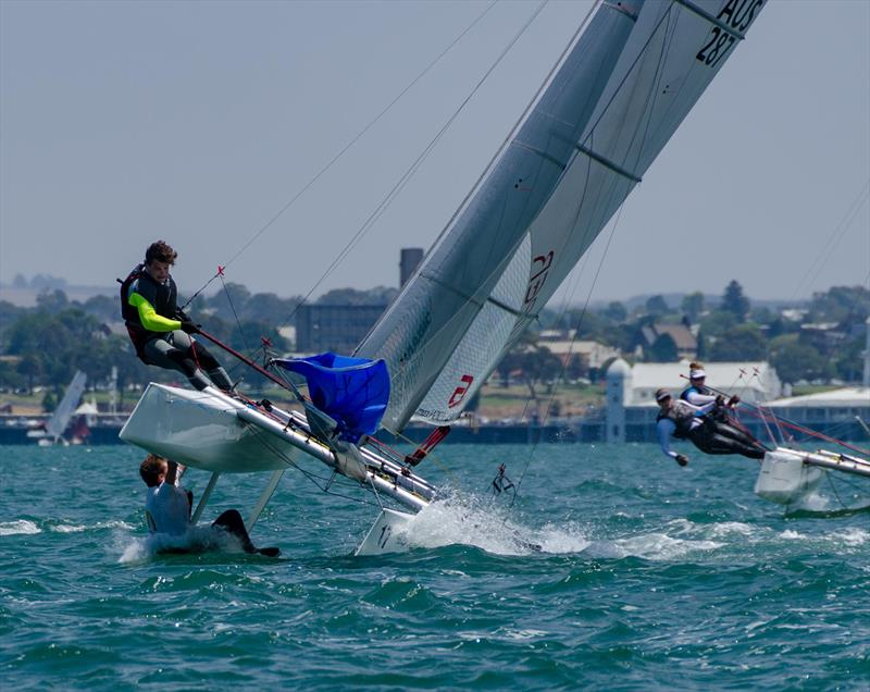 Belgium team's go for a spill at the top mark on day 2 of the Viper Worlds at Geelong photo copyright Tiff Rietman taken at Royal Geelong Yacht Club and featuring the Viper class