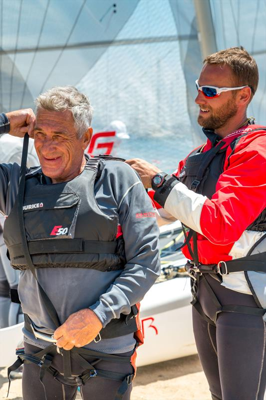 Gary (left) and Tom Purcell rigging up on day 2 of the Viper Worlds at Geelong photo copyright LaFoto taken at Royal Geelong Yacht Club and featuring the Viper class