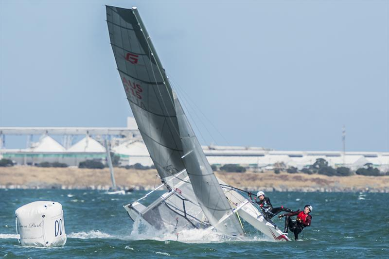 Claire Campbell and James Moeller capsize on day 3 of the Viper Worlds at Geelong - photo © Tom Smeaton