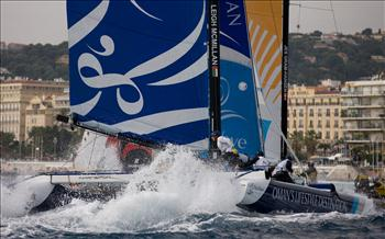 Racing on day 4 of Extreme Sailing Series Act 7 at Nice