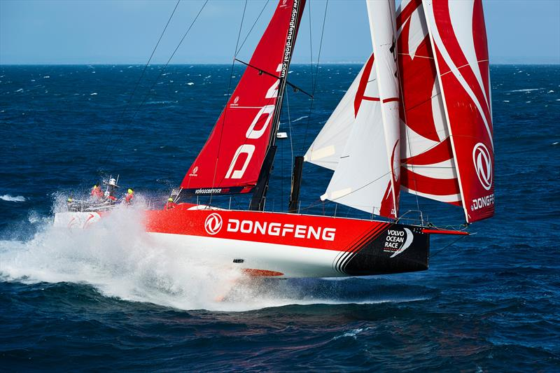 Dongfeng Race Team's first helicopter shoot in South Britany between Glenan Island and Groix Island - photo © Benoit Stichelbaut / Dongfeng Race Team