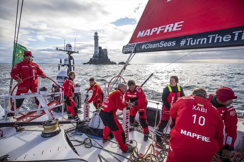 Downwind after the rock on board MAPFRE in the Rolex Fastnet Race - photo © Ugo Fonolla / Volvo Ocean Race