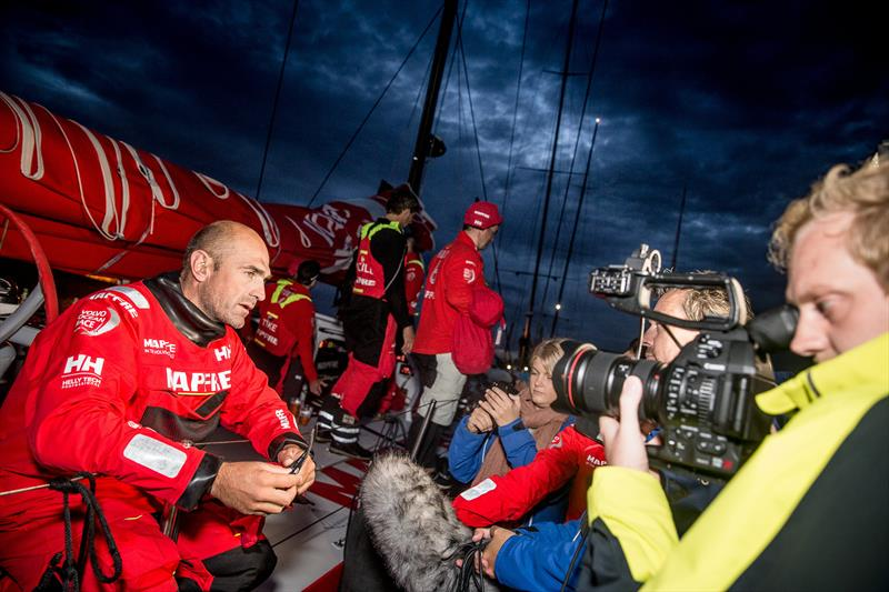 Skipper Xabi Fernández (left) on board MAPFRE after finishing the Rolex Fastnet Race - photo © María Muiña / MAPFRE