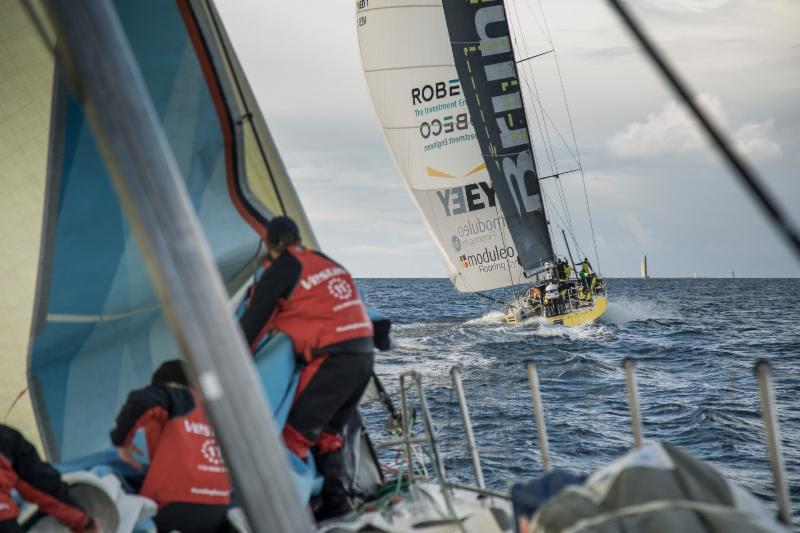 On board Vestas 11th Hour Racing during a knife-edge battle between the VO65s in the Rolex Fastnet Race - photo © Martin Keruzore / Volvo Ocean Race