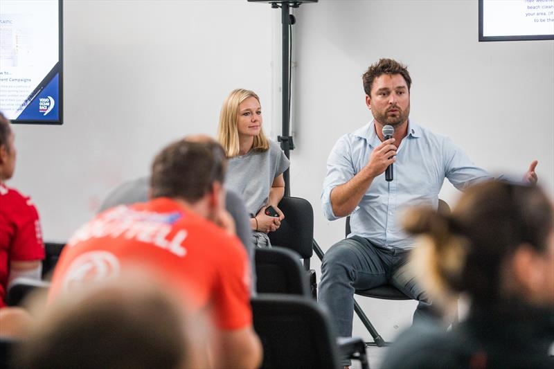 11th Hour Racing President Jeremy Pochman and ocean health campaigner Emily Penn present to the attendees at the Volvo Ocean Race Sustainability Training - photo © Jen Edney/Volvo Ocean Race