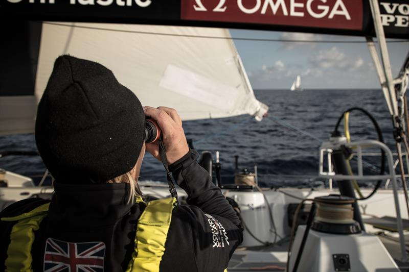 On board Team Brunel during Volvo Ocean Race Leg 1: Alicante to Lisbon - photo © Martin Keruzore / Volvo Ocean Race